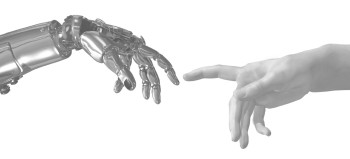 Robot and human hands, Michelangelo style